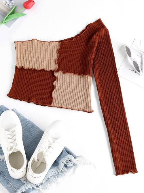 Shopping Full Sleeve Polyester,polyurethane Others Deep Coffee Ribbed Two Tone Lettuce Tee