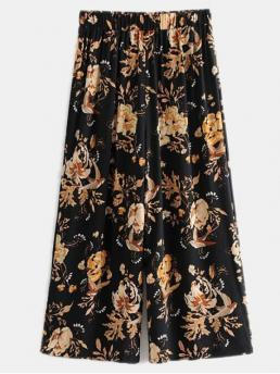 Fall Elastic Wide Floral Loose High Casual Floral Wide Leg Cropped Pants