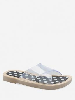 Summer PU Plastic PU Rubber Dot Slip-On Flat Slides Daily Fashion For Polka Dot Transparent Slide Sandals