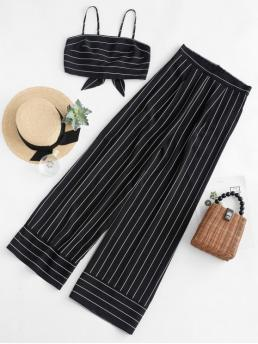 No Summer Striped Flat Zipper High Sleeveless Spaghetti Regular Fashion Casual and Daily Striped Knotted Top and Wide Leg Pants Set