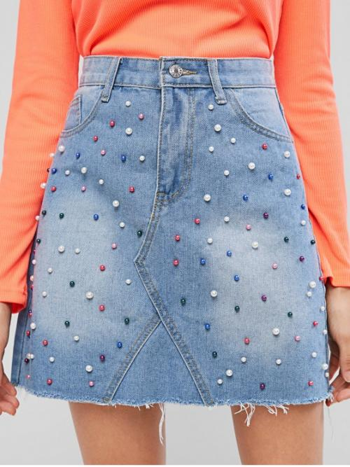 Spring and Summer Zipper Frayed and Pearls Others A-Line Mini Daily Fashion Frayed Faux Pearl High Waisted Beading Denim Skirt