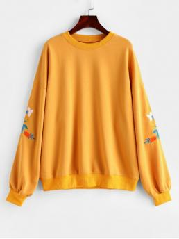 Autumn and Winter Embroidery Floral Full Long Drop Sweatshirt Flower Embroidered French Terry Drop Shoulder Sweatshirt