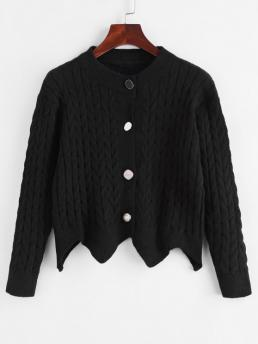 Women's Full Sleeve Cardigans Cotton,polyester Solid Cable Knit up Angled Hem Cardigan