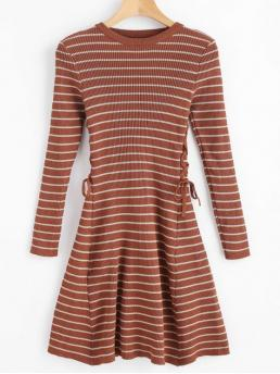 No Fall and Spring Striped Lace Long Round Mini A-Line Day Fashion Stripes Ribbed Lace Up Sweater Dress
