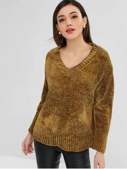 Winter Elastic Full Drop V-Collar Regular Loose Fashion Daily and Going Pullovers V Neck Chenille Loose Sweater
