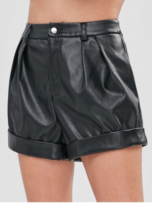 Autumn and Spring and Winter No Solid Flat Zipper High Regular Fashion Faux Leather High Rise Shorts