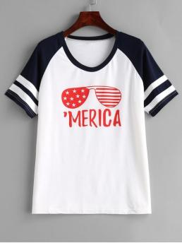 Summer Letter and Star and Striped Short Crew Fashion Sunnies Graphic Raglan Sleeve Baseball Tee