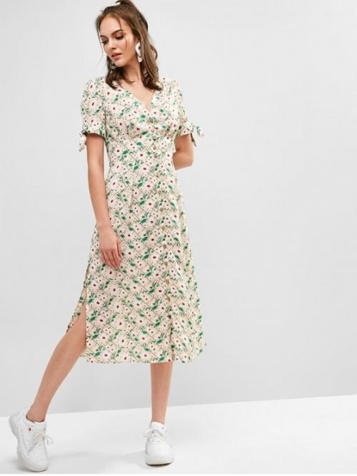 No Summer Nonelastic Floral Button and Slit Short V-Collar Mid-Calf A-Line Day Fashion Button Up Slit Floral Midi Dress