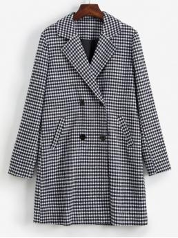 Autumn Gingham Lapel Full Long Wide-waisted Coat Daily Formal Gingham Button Up Lapel Coat
