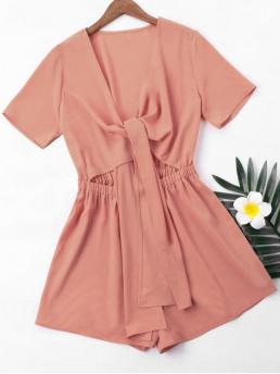No Solid Regular Casual Short Sleeve High Waist Romper