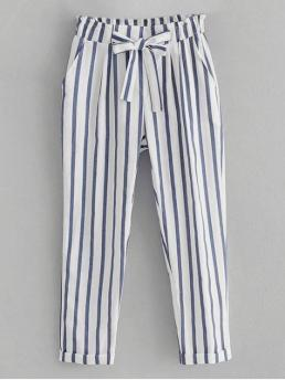 Fall No Elastic Straight Normal Striped Bowknot Loose High Fashion Striped Bowknot High Waisted Pants