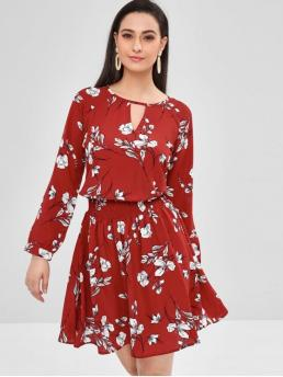 No Fall and Spring Floral Long Round Knee-Length A-Line Day Brief Long Sleeve Keyhole Floral Dress