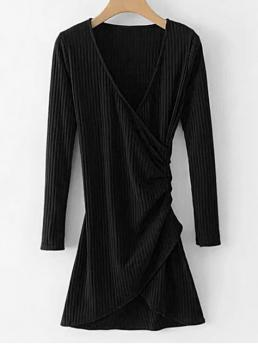 No Fall and Spring Solid Long V-Collar Mini A-Line Day and Night Brief Long Sleeve Ribbed Draped Dress