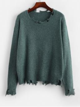 Autumn and Winter Frayed Solid Nonelastic Full Drop Crew Regular Loose Casual Daily Pullovers Frayed Drop Shoulder Jumper Sweater
