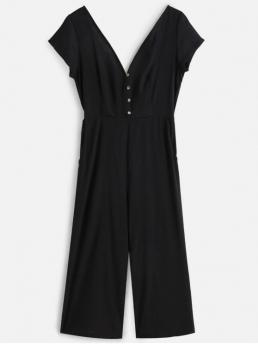 Fall No Solid Short V-Collar Loose Casual Daily Buttoned Wide Leg Jumpsuit