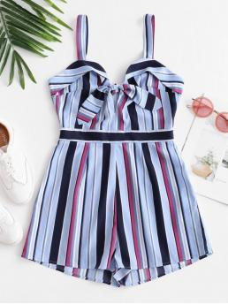 Summer No Striped Nonelastic Sleeveless V-Collar Mini Regular Fashion Daily and Going Striped Tie Front Sleeveless Romper