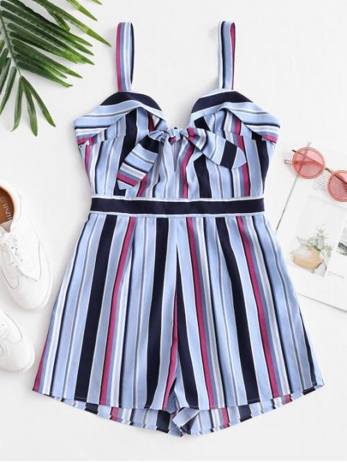 Summer No Striped Nonelastic Sleeveless V-Collar Mini Regular Fashion Daily and Vacation Striped Tie Front Sleeveless Romper