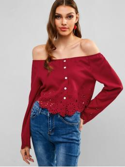 Summer Button Solid Full Regular Nonelastic Off Fashion Daily Laser Cut Buttoned Off Shoulder Blouse