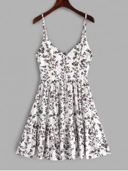 No Summer Floral Button Sleeveless Spaghetti Mini A-Line Casual Casual Buttons Floral Print A Line Cami Dress