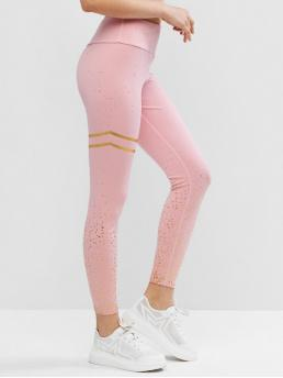Fall and Spring and Summer 7/8 Others Elastic High Going Fashion Foil Print High Waisted Yoga Gym Leggings