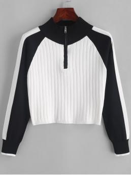 Autumn and Spring and Winter Zippers Patchwork Zipper Elastic Full Raglan Mock Short Regular Fashion Daily and Going Pullovers Half Zip Color Block Mock Neck Sweater
