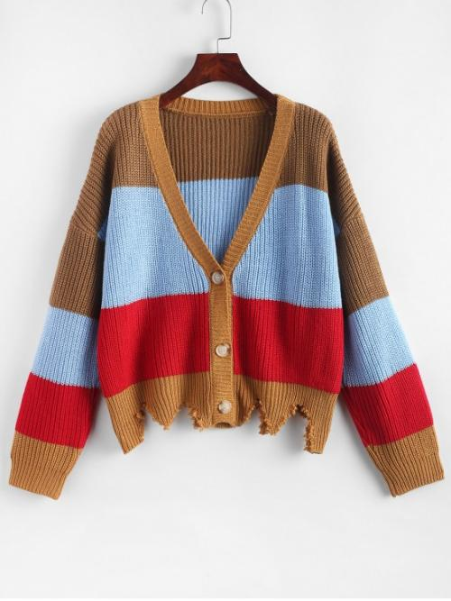 Autumn and Spring and Winter Frayed Patchwork Single Elastic Full Drop V-Collar Regular Regular Fashion Daily and Going Cardigans Button Up Colorblock Frayed Zig Zag Hem Cardigan