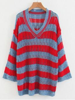 Affordable Full Sleeve Pullovers Polyester Striped Knit V Neck Sweater