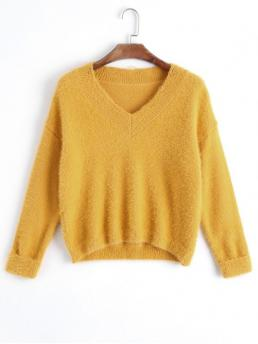 Solid Full V-Collar Fashion Pullovers V Neck Destroyed Pullover Sweater