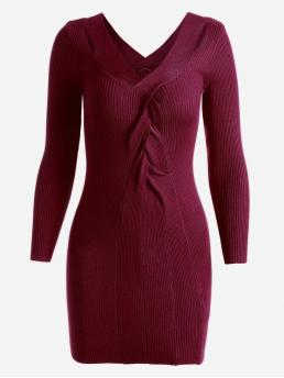 Fall and Spring No Solid Long V-Collar Mini Twisted V Neck Knitted Dress