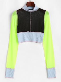 Trending now Full Sleeve Polyester,polyurethane Colorblock Black Ribbed Topstitching Crop t Shirt
