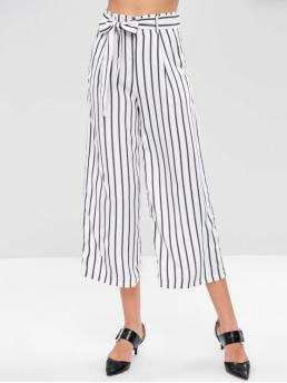 Fall Yes Zipper Wide Striped Loose High Casual Striped Belted Wide Leg Pants