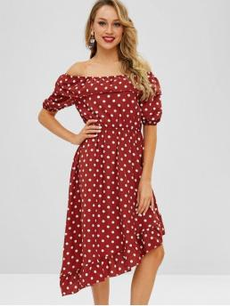 No Spring and Summer Polka Flounce 1/2 Off Mid-Calf Asymmetrical Holiday Brief Flounce Polka Dot Asymmetric Dress