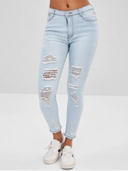 Elastic Fall and Spring Pocket and Ripped Skinny Normal Bleach Denim Fashion Distressed Faded Jeans