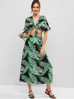 No Summer Leaf Flat Zipper High Short V A Fashion Beach Tie Front Palm Leaves Top And Skirt Set