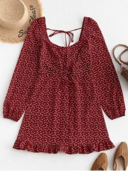 No Fall Nonelastic Empire Heart and Polka Flounce and Lace Long U Mini A-Line Casual  Elegant Lace Up U Neck Heart Mini Dress