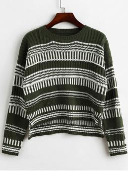 Autumn and Spring and Winter Slit Striped Elastic Full Drop Round Short Regular Fashion Daily and Going Pullovers Pullover Stripes High Low Slit Sweater