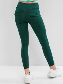 Fall and Spring 7/8 Pockets Solid High Running and Sports and Yoga Active Back Pocket Ninth High Waisted Leggings