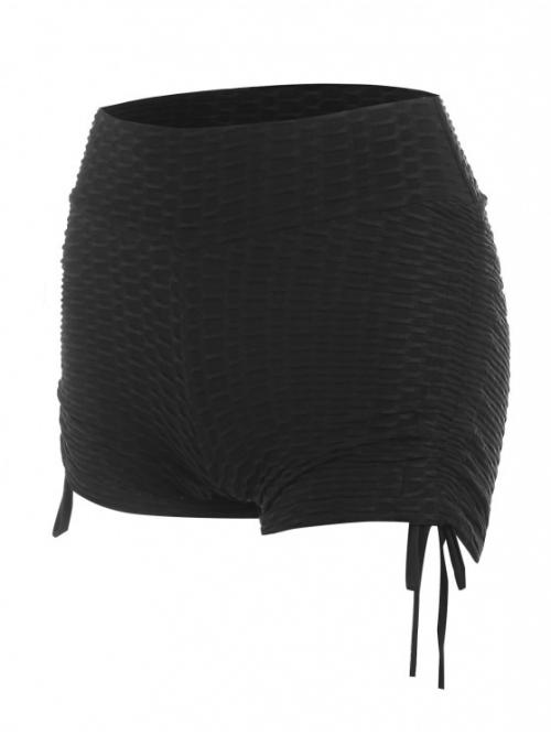 Discount Black Solid Color Skinny Mini Textured Cinched Gym Shorts