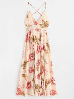 Fall and Summer No Floral Backless and Ruffles Sleeveless Spaghetti Surplice Ankle-Length Casual  and Cocktail Ruffles Floral Maxi Cami Dress