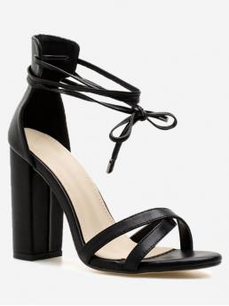 PU Solid Lace-Up Chunky Ankle-Wrap Party Fashion For Ankle Wrap Block Heel PU Leather Sandals