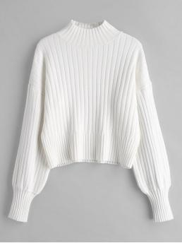 Autumn and Winter Solid Elastic Full Drop Mock Regular Loose Fashion Daily Pullovers Dropped Shoulder Mock Neck Sweater