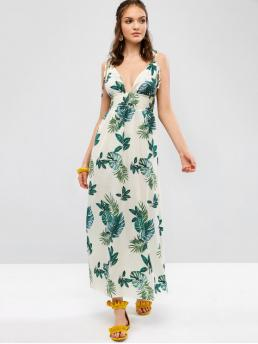 No Summer Empire Leaf Backless Sleeveless Spaghetti Ankle-Length A-Line Casual and Vacation Casual Backless Leaves Print Smocked Cami Dress