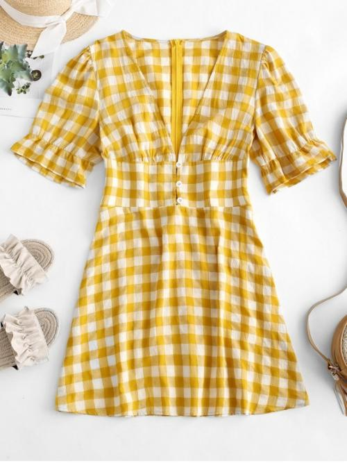 No Summer Plaid 1/2 Plunging Mini A-Line Casual and Day Fashion Low Cut Plaid Mini Dress
