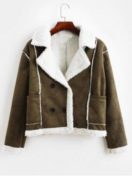 No Nonelastic Autumn and Winter Pockets Others Lapel Full Regular Wide-waisted Fashion Jackets Daily and Going Pockets Faux Suede Double Breasted Sheepskin Jacket