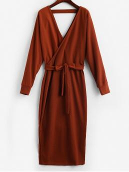 Yes Fall Solid Long V-Collar Mid-Calf Surplice Sheath Casual Casual Slit Solid Color Belted Surplice Dress