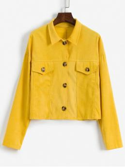 Autumn Pockets Solid Single Shirt Drop Full Regular Wide-waisted Fashion Jackets Daily and Going Corduroy Flap Pocket Drop Shoulder Jacket