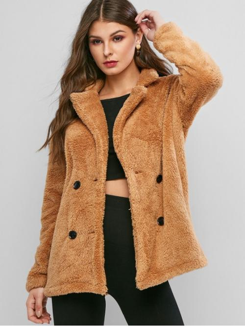 Winter Pockets Solid Double Turn-down Full Regular Wide-waisted Daily and Going Fashion Double Breasted Pocket Fluffy Teddy Coat