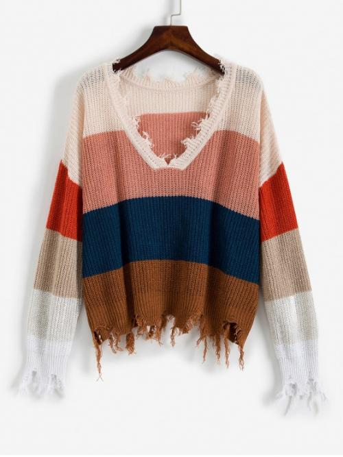 Autumn Ripped Color Elastic Full Drop V-Collar Regular Loose Casual Daily Pullovers Colorblock Ripped V Neck Sweater