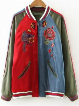 Fall and Spring Embroidery Floral Stand-Up Full Slim Jackets Fashion Flower Embroidered Reversible Baseball Jacket
