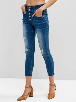 Fall and Spring and Summer and Winter Pocket and Ripped Button High Skinny Ninth Medium Denim Fashion Ripped Button Fly Skinny Pocket Jeans